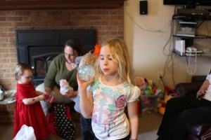 Isabelle playing with the sparkly ball