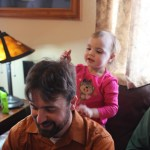 "Meg ""combing"" daddy's hair"