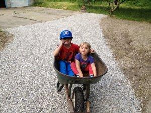 wheelbarrow of kids