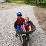wheelbarrow of kids