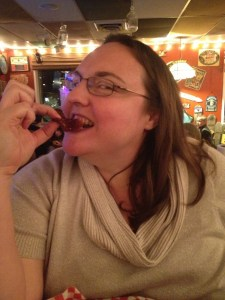Clare eating Rocky mountain oysters