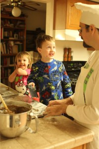 Spencer and Meg help daddy make peppernuts