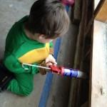 Spencer will soon be a master caulker