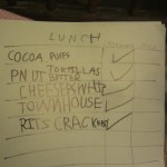 Spencer's list of what to eat