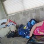 Meg and Spencer enjoy iPad time