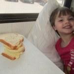 Meg with a giant sandwich