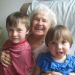 Great grandma Dorothy and her great grandkids Spencer and Meg