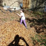 Meg raking leaves
