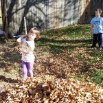Spencer and Meg raking leaves