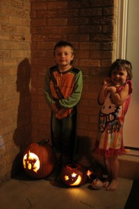 Meg and Spencer by their pumpkins
