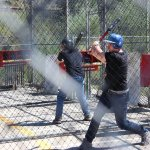 Drew and Bret at the batting cages