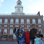 Spencer, Clare, Wendy, Pete, Isaac, Meg, and Vera by Independence Hall