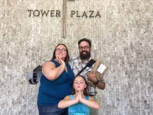 Silly poses at Tower Plaza