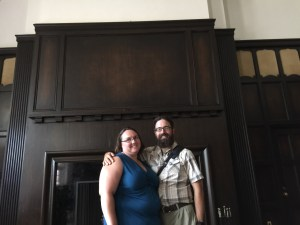 Clare and Rob in the Kuenzel room where they got married