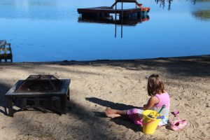 Meg playing in the sand on Horseshoe Lake