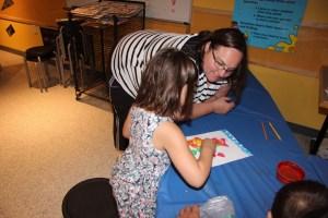 Meg making art