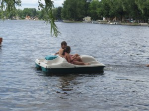 Rob and Sadie in the pedal boat