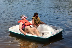 Grandma and Sadie in the pedal boat