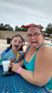 Slurpee mouth at the pool