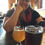 Clare with sour beer at Jolly Pumpkin