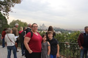 Clare, Meg, and Spencer with the Palacio Real de Madrid in the background
