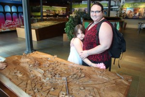 Meg and Clare by 3D map of Segovia