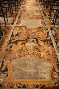 The floor consists of grave markers of marble