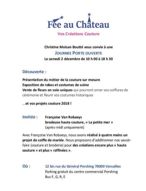 Portes ouvertes 2017 atelier de couture Fée au Château