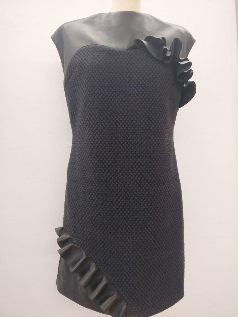Robe en cuir et laine par Fée au Château couture styliste modéliste