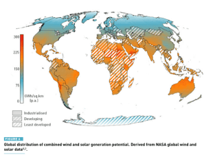 Map: Global distribution of combined wind and solar generation potential