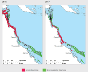 Two maps showing where the Great Barrier Reef bleached in 2016 and 2017
