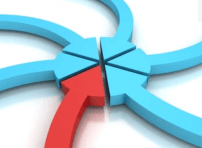 Image of convergence: A red arrow and five blue arrows meet point to point