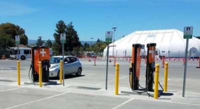 Tritium electric vehicle chargers in a NASA car park in California