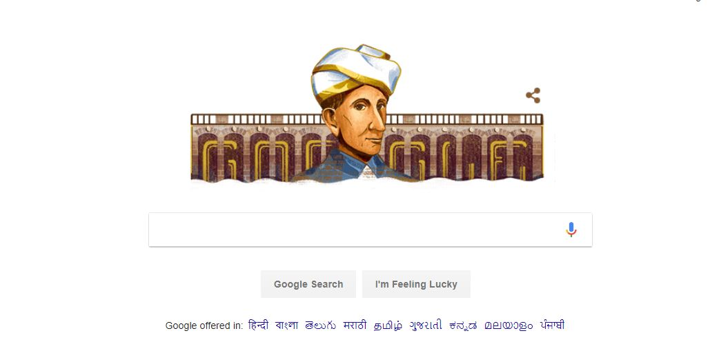 M. Visvesvaraya's Google Doodle,M. Visvesvaraya's 157th birthday,M. Visvesvaraya,Google Doodle, Google Doodle Today,Engineer Day