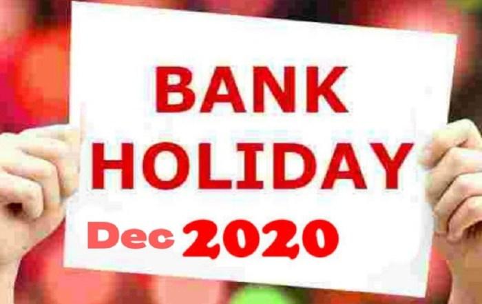 Bank Holidays December 2020
