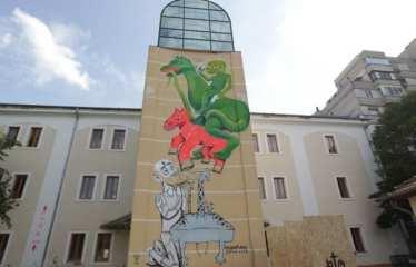 IRLO, Obie Platon, KERO ZEN, mural Sf Gheorghe, 2015