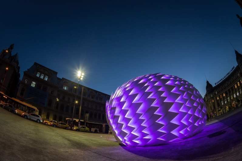Womb of Tra by Marilena Oprescu interactive installation 9mx5.5mx4.5m September 2014 University Square Bucharest photo by Cristian Vasile
