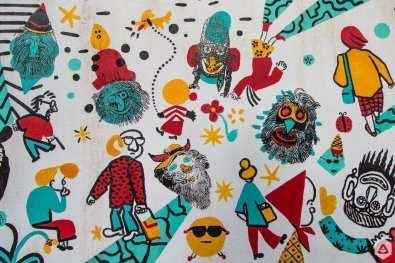 Sorina Vazelina & Primitiv Print screen print wall @ Lente Lupu - Un Hidden Bucharest street art map by Save or Cancel