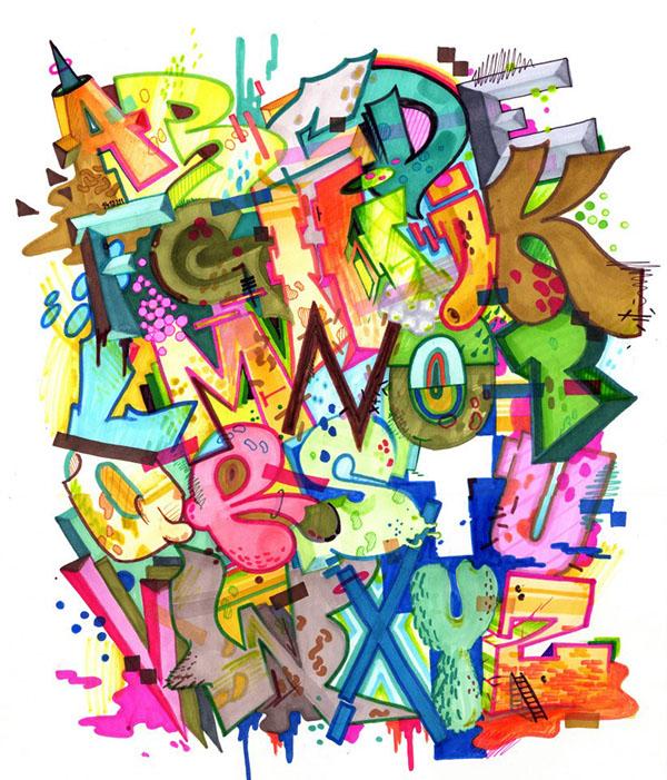 Homeboy LDJ - graffiti alphabet sketch