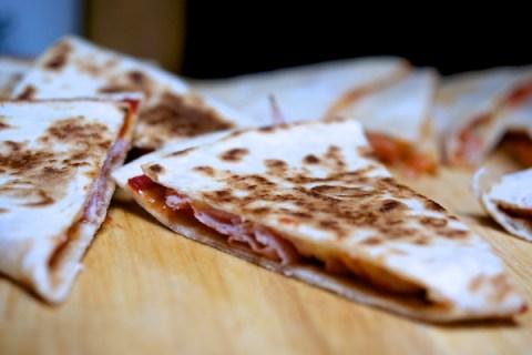 Cheese, ham and tomato quesadillas