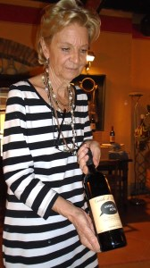 Giovannella showing off some wine.