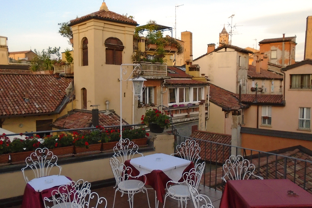 The hotel balcony in Bologna, beautiful view!