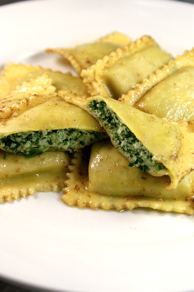 tortelli with brown butter and sage