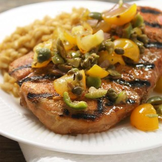 Grilled Pork Chops With Mediterranean Inspired Tapenade