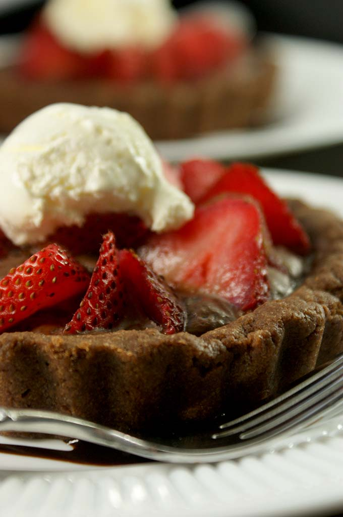 double chocolate and strawberry tartlets