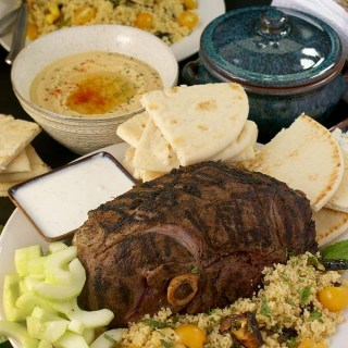 Middle Eastern Spiced Leg of Lamb with Tzatziki