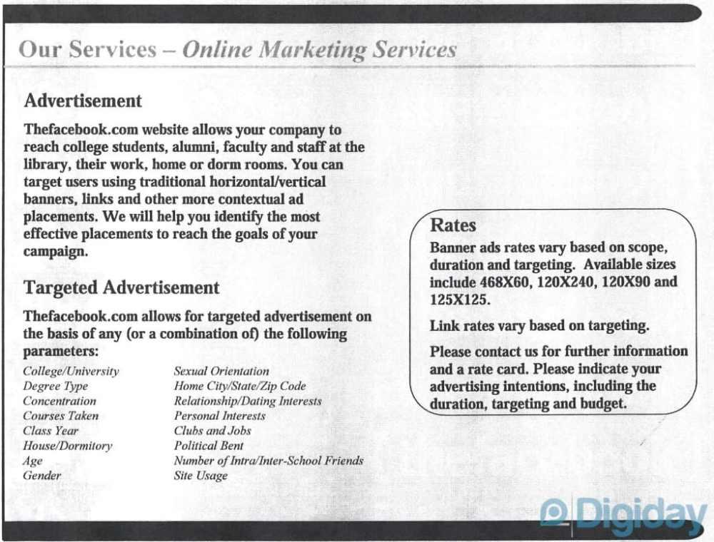 Facebook business model investors pitch deck