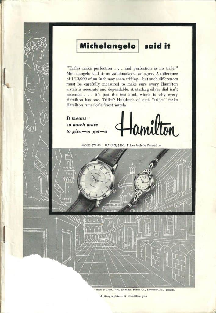 1954 Hamilton Vintage Print ads