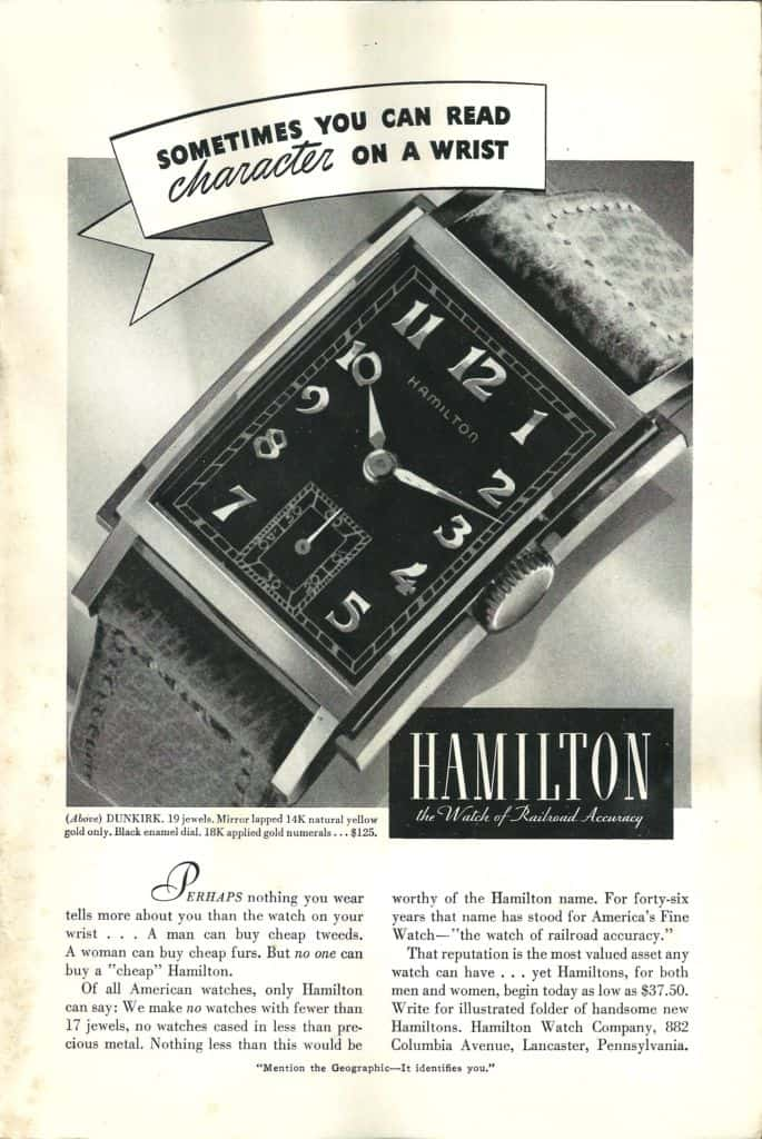 1939 Hamilton Vintage Print ads