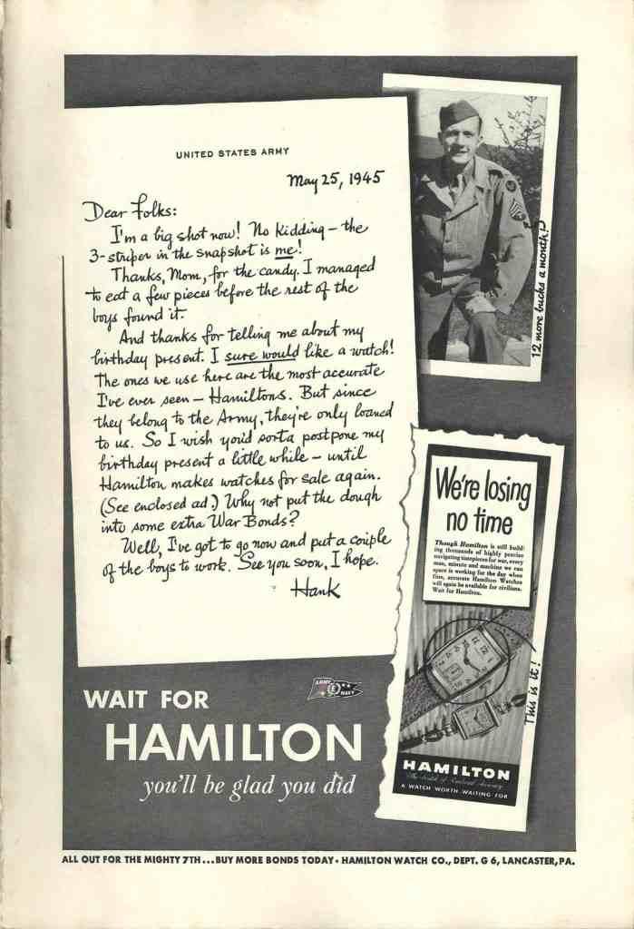 1945 Hamilton Vintage Print ads